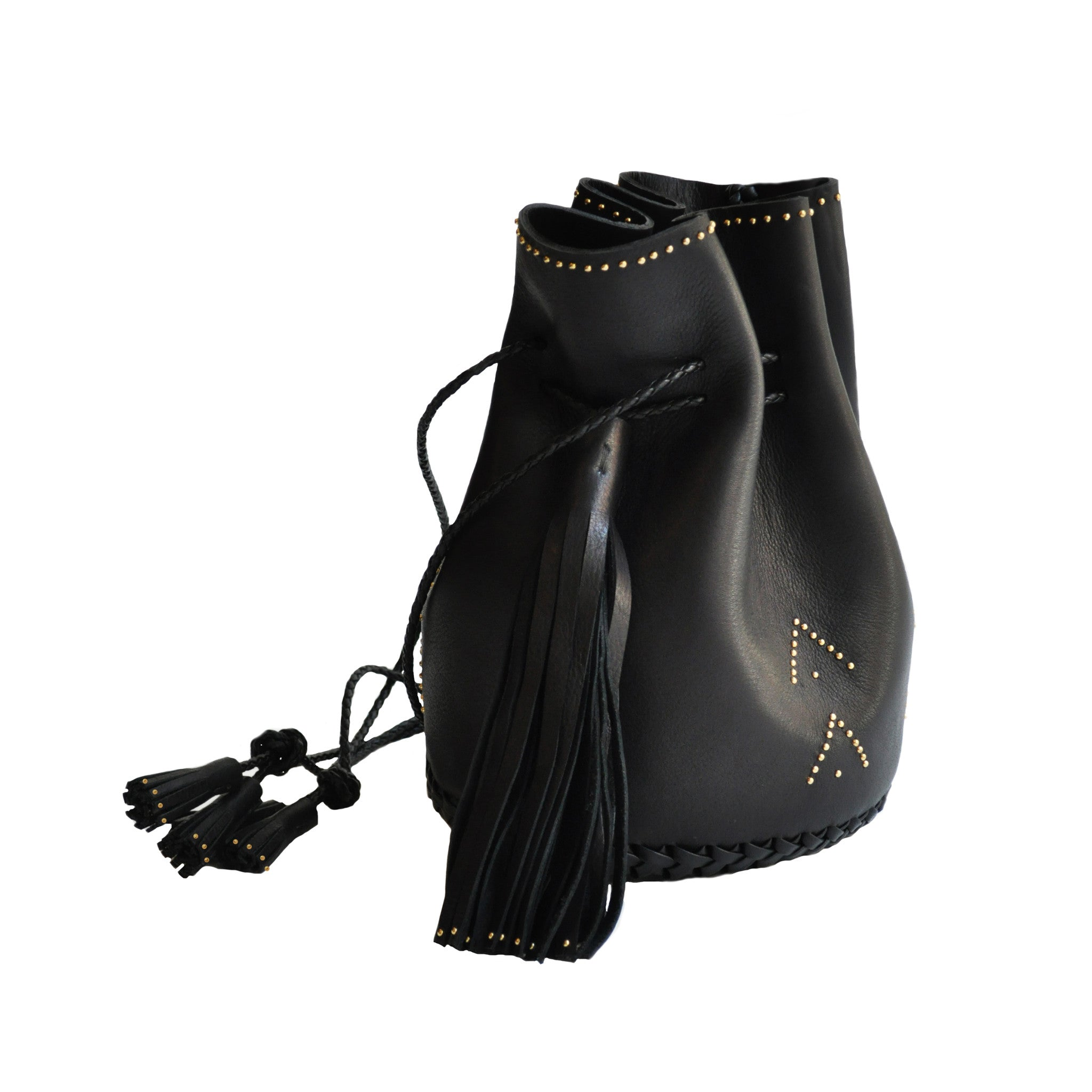 Black Hand Studded Studs Stud Chevron Leather Bullet Bag Wendy Nichol Handbag Purse Designer Handmade in NYC New York City Bucket Bag Drawstring Pouch Large Fringe Tassel