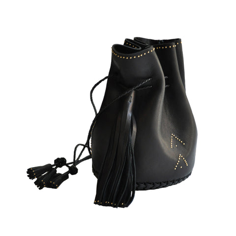 Black Hand Studded Chevron Leather Bullet Bag Wendy Nichol Handbag Purse Designer Handmade in NYC Bucket Bag
