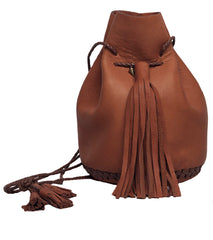 Chocolate Dark Brown Leather Signature Classic Bullet Bag Wendy Nichol Handmade in NYC New York City Leather Drawstring Bucket Pouch Purse Handbag Large Fringe Tassel Custom Made to Order