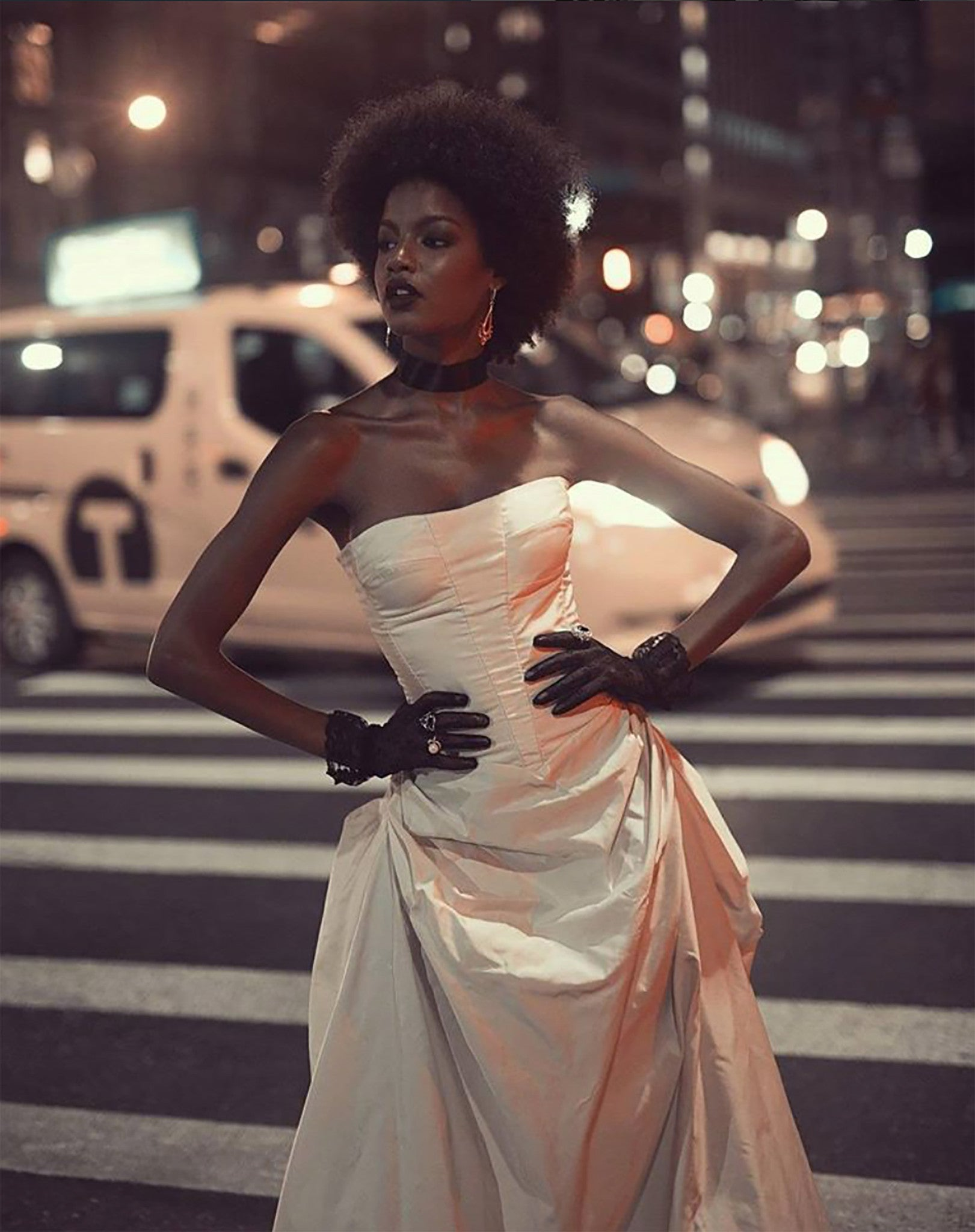 Ebonee Davis model white cream dress bustier corset Bazaar Icons Party Wendy Nichol a cinderella Story