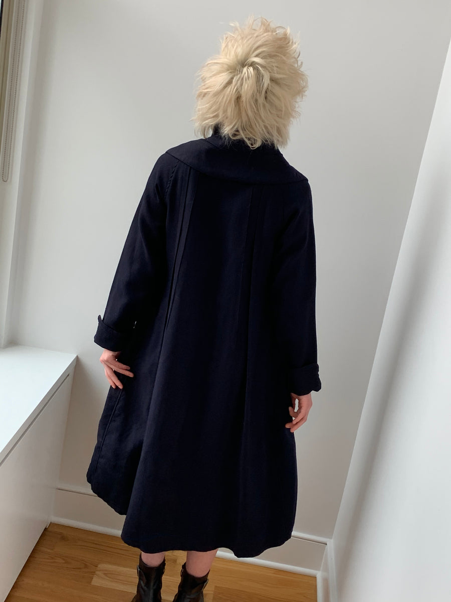Vintage 100% Lamb's Wool Navy High Collar Trench Coat