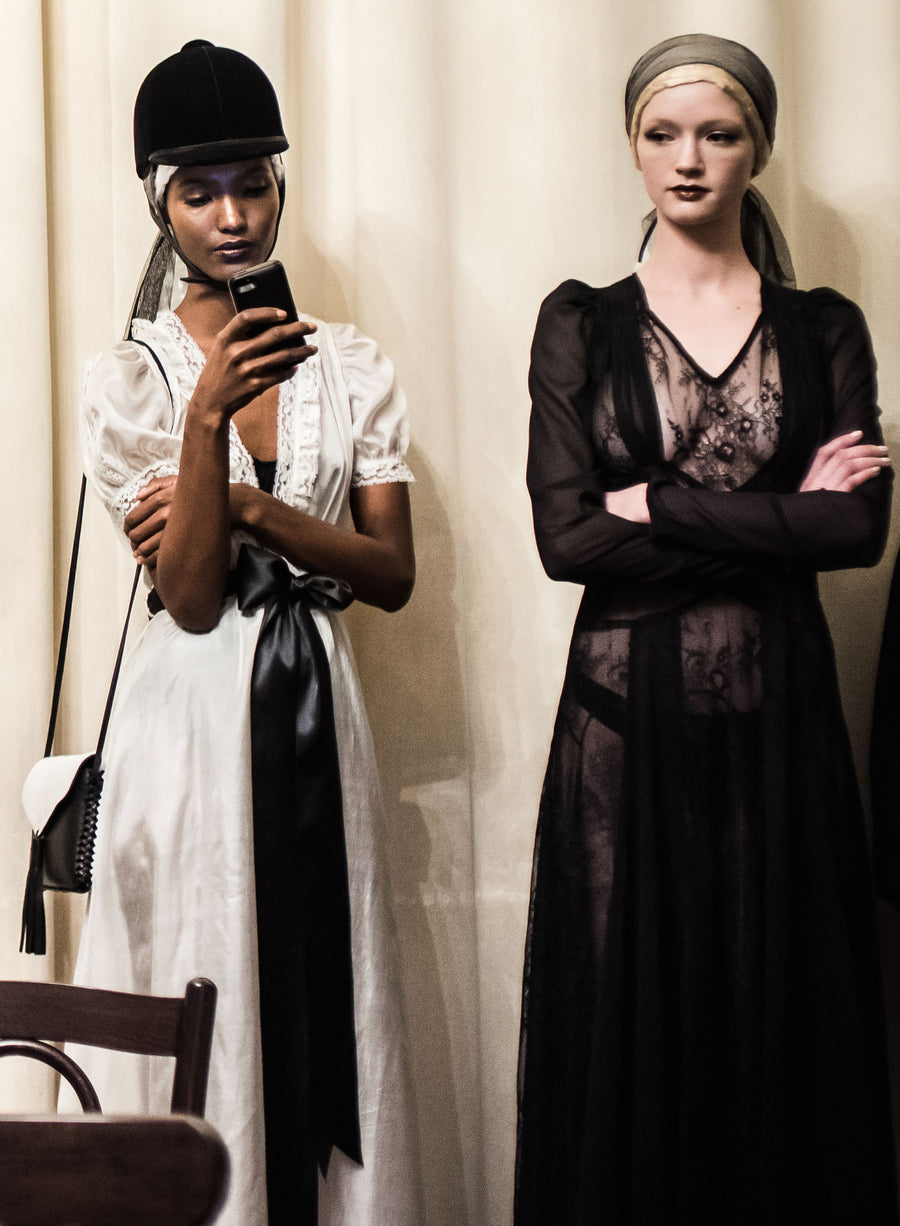The Altruist Negligee Jung Silk Charmeuse Satin Black Bow Victorian Lace Baby Doll Dress Coat Shawl Cover Bride Wedding Victorian Fatima Siad IMG Model Wendy Nichol Clothing Fashion Designer Handmade in NYC New York City AW14 Ready to Wear Fashion Runway Show Custom Tailoring Made to Measure Bespoke