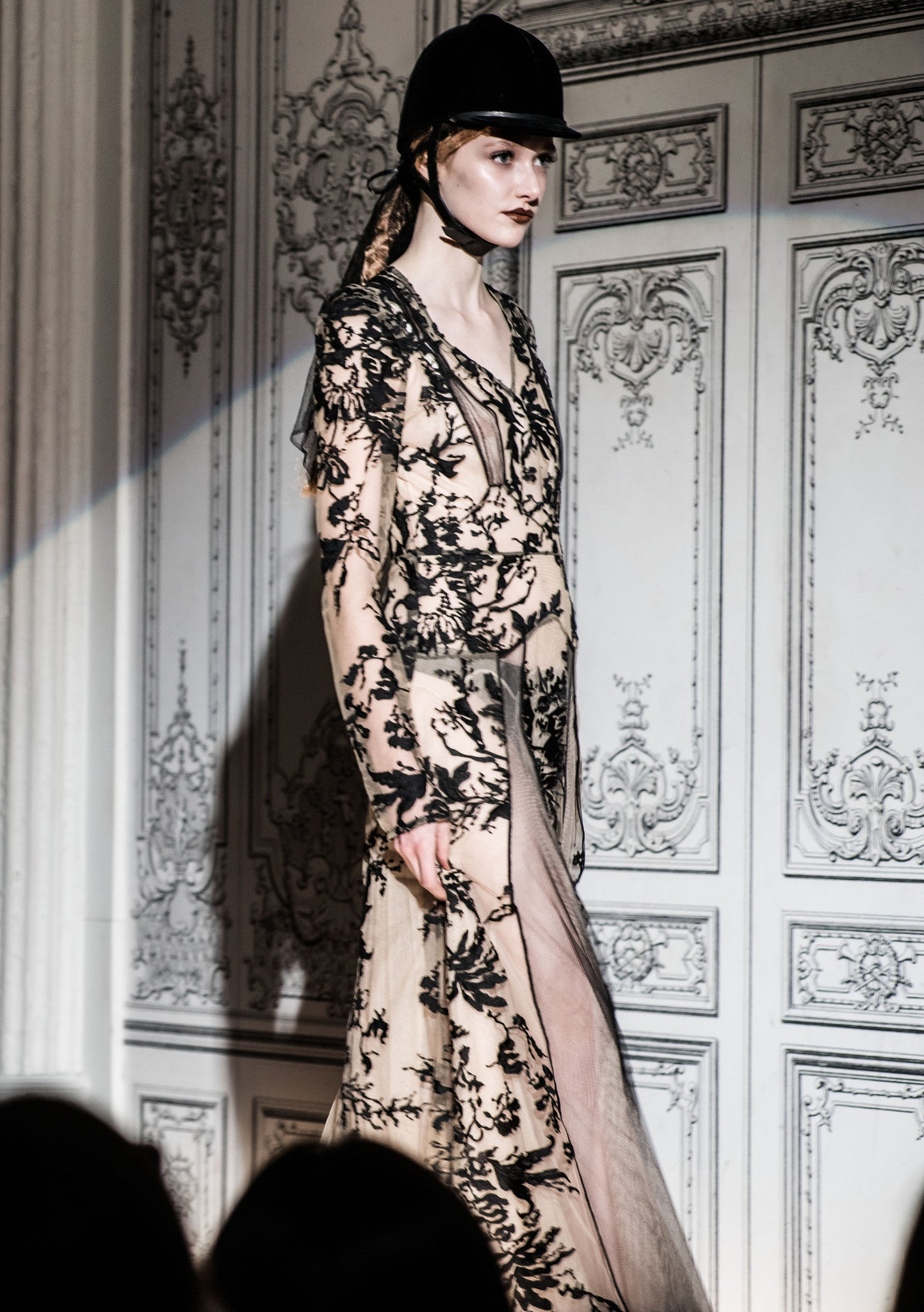 The Nude & Black Lace Lover Jung Dress Sheer Floral Lace Silk Tulle Silk Embroidery Jungle Garden Wendy Nichol Clothing Fashion Designer Handmade in NYC AW14 Ready to Wear Fashion Runway Show Custom Tailoring Made to Measure