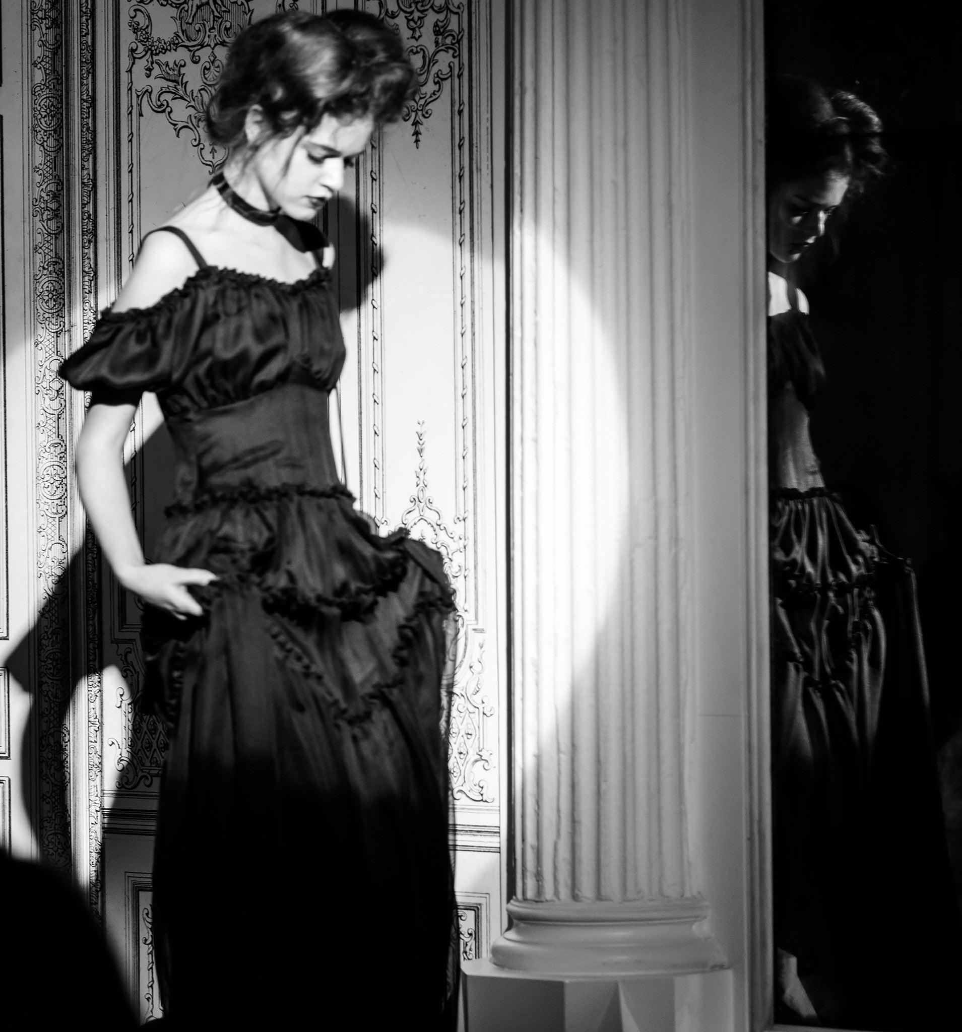 Wendy Nichol Fashion Runway Show Carl Jung The Orphan Gown Black layers of Silk off the shoulder  IMG Model Wendy Nichol Clothing Fashion Designer Handmade in NYC AW14 Ready to Wear Fashion Runway Show Custom Tailoring Made to Measure