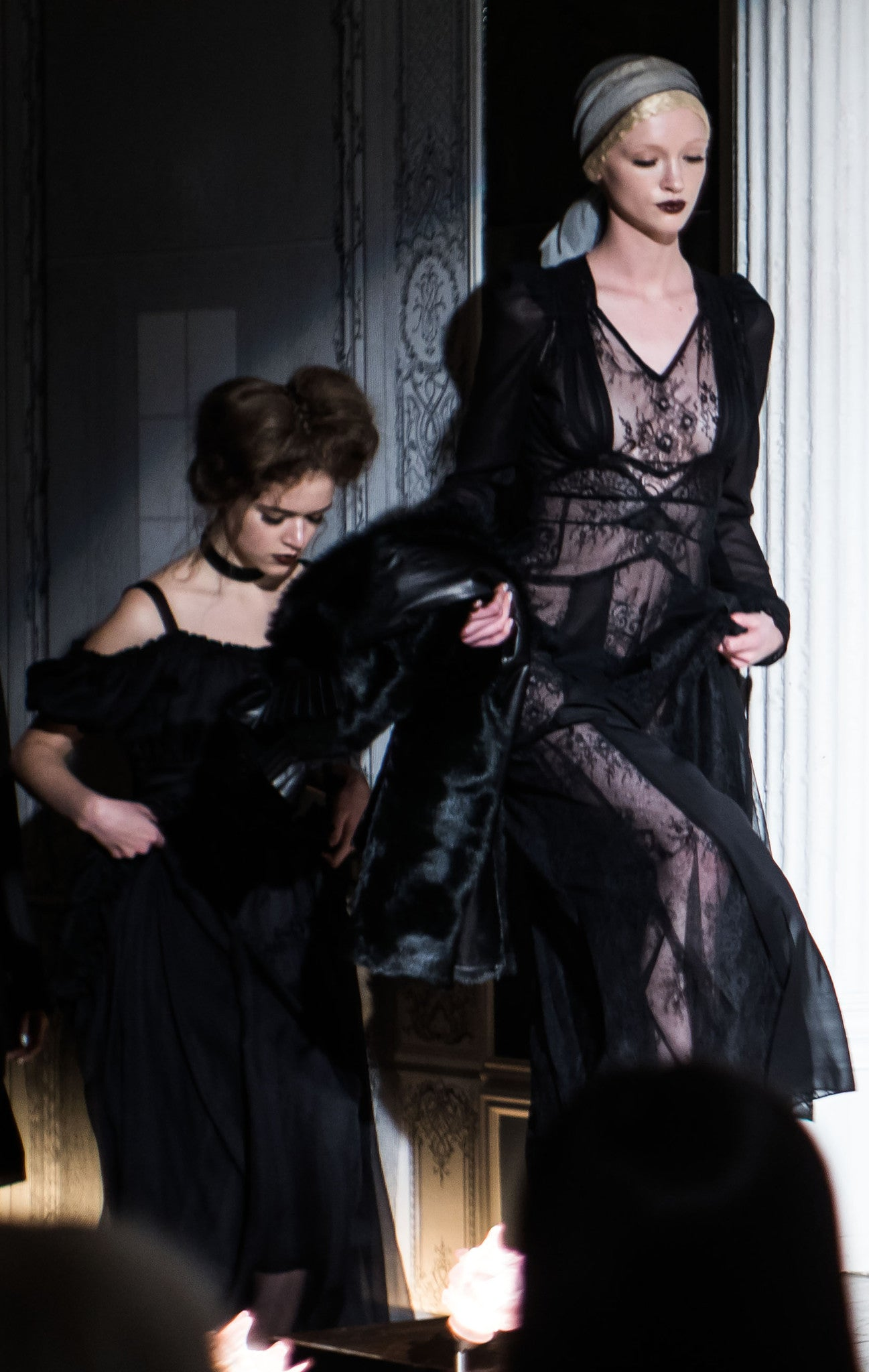 Black French Solstiss Lace Lover Dress Jung Wendy Nichol Clothing Fashion Designer Handmade in NYC New York City AW14 Ready to Wear Fashion Runway Show Custom Tailoring Made to Measure Made to Order Long Sleeve Sheer cut out panels lace dress Morticia Vampire Dracula Goth Gothic Vintage inspired Victorian Edwardian Fall Wedding Winter Bride