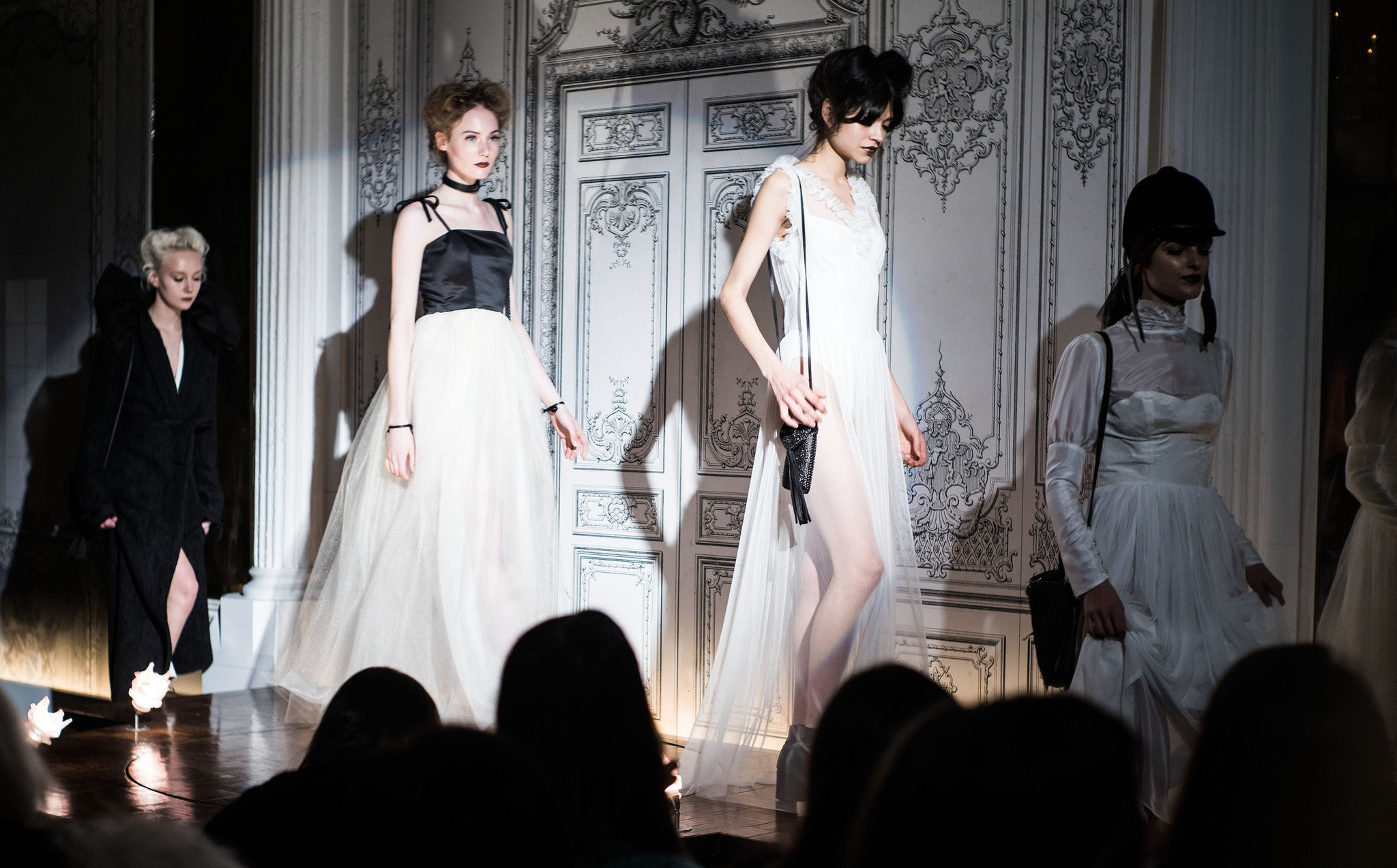 Wendy Nichol Fashion Runway Show Carl Jung the Innocent White Silk Dress IMG Model Catalina IMG Model Wendy Nichol Clothing Fashion Designer Handmade in NYC AW14 Ready to Wear Fashion Runway Show Custom Tailoring Made to Measure