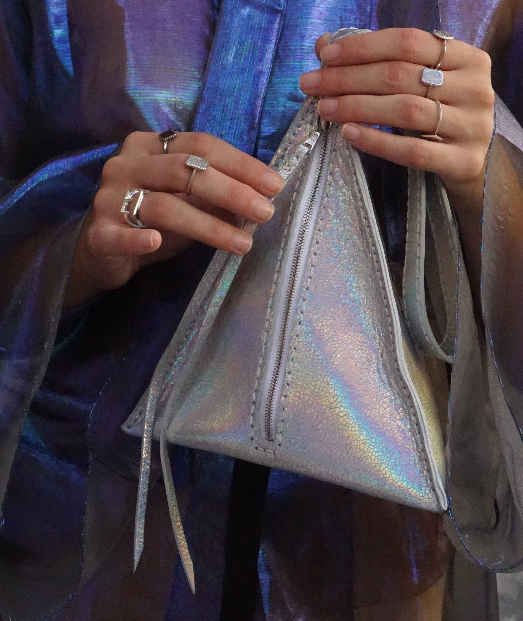 Maggie Laine IMG model Wendy Nichol SS17 Fashion Show Death Valley Triangle shape high quality leather bag Handmade in NYC New York City Devil Star Pyramid Egyptian Triangle Bag handbag purse wristlet Silver Rainbow Metallic Shiny Patent Leather
