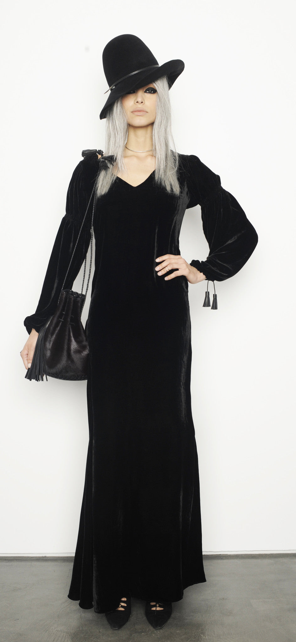 Monic IMG model Wendy Nichol Clothing Fashion Designer Runway Show AW15 Queen of Thieves Black Silk Velvet Dress Renaissance Puff Sleeve Gray Grey Hair Girl Gangster Peaky Blinders Handmade in NYC Custom Tailoring Color Fabric Made to Measure