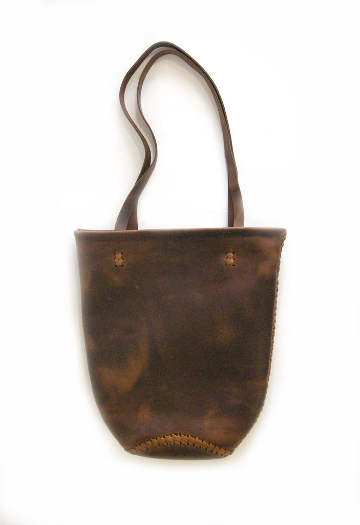 Dark Brown Horse Vegetable Tanned Leather Mini Tote Wendy Nichol Handbag bag Purse Designer Handmade in NYC New York City  braided Basket Everyday Simple Durable Light Medium Tote Eco Leather High Quality Leather