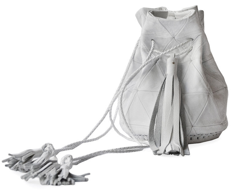 White Leather Triangle Patchwork Bullet Bag Wendy Nichol Leather Handbag Purse Designer Barneys Barney's Bucket Bag Handmade in NYC New York City High Quality leather Draw String Drawstring Pouch  Large Fringe Tassel Tassels Summer