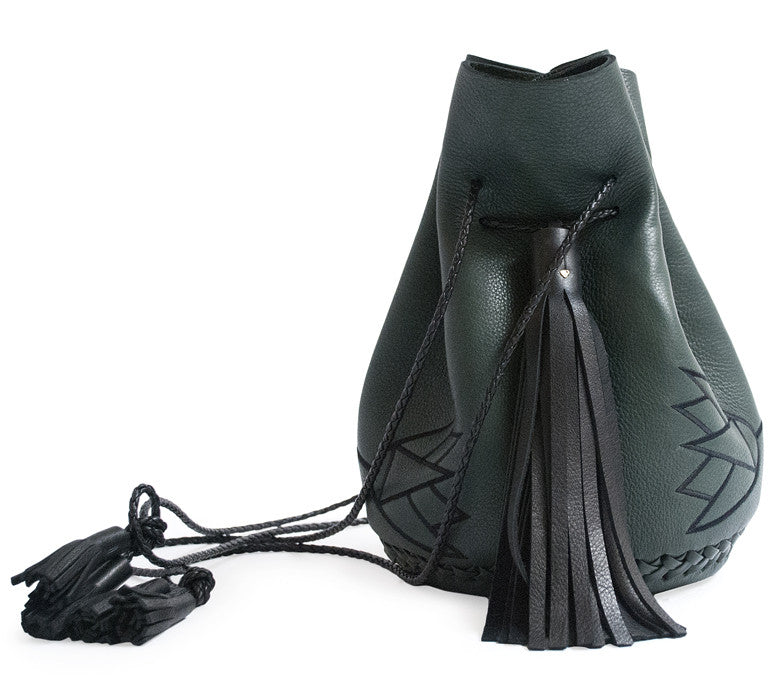 Embroidered Egyptian Lotus Flower Symbol Leather Bullet Bag Wendy Nichol Handbag Purse Designer Handmade in NYC New York City Bucket Drawstring Pouch Bag Large Fringe Tassel Tassels