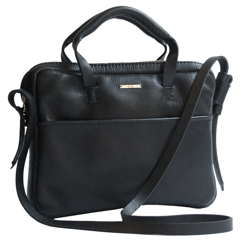 Leather Mona Brief Briefcase Bag Wendy Nichol Handbags Handmade in NYC cross body work documents bag