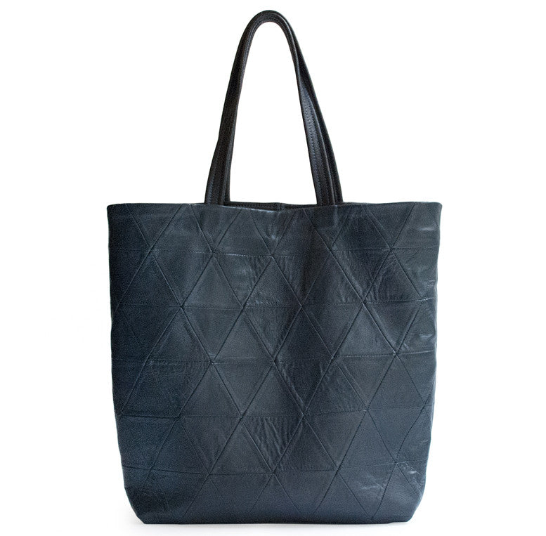 Navy Dark Blue Leather Triangle Patchwork Tote Wendy Nichol Designer Handbag Purse Tote Handmade in NYC New York City Strong durable Handle interior pocket Triangles High Quality Leather