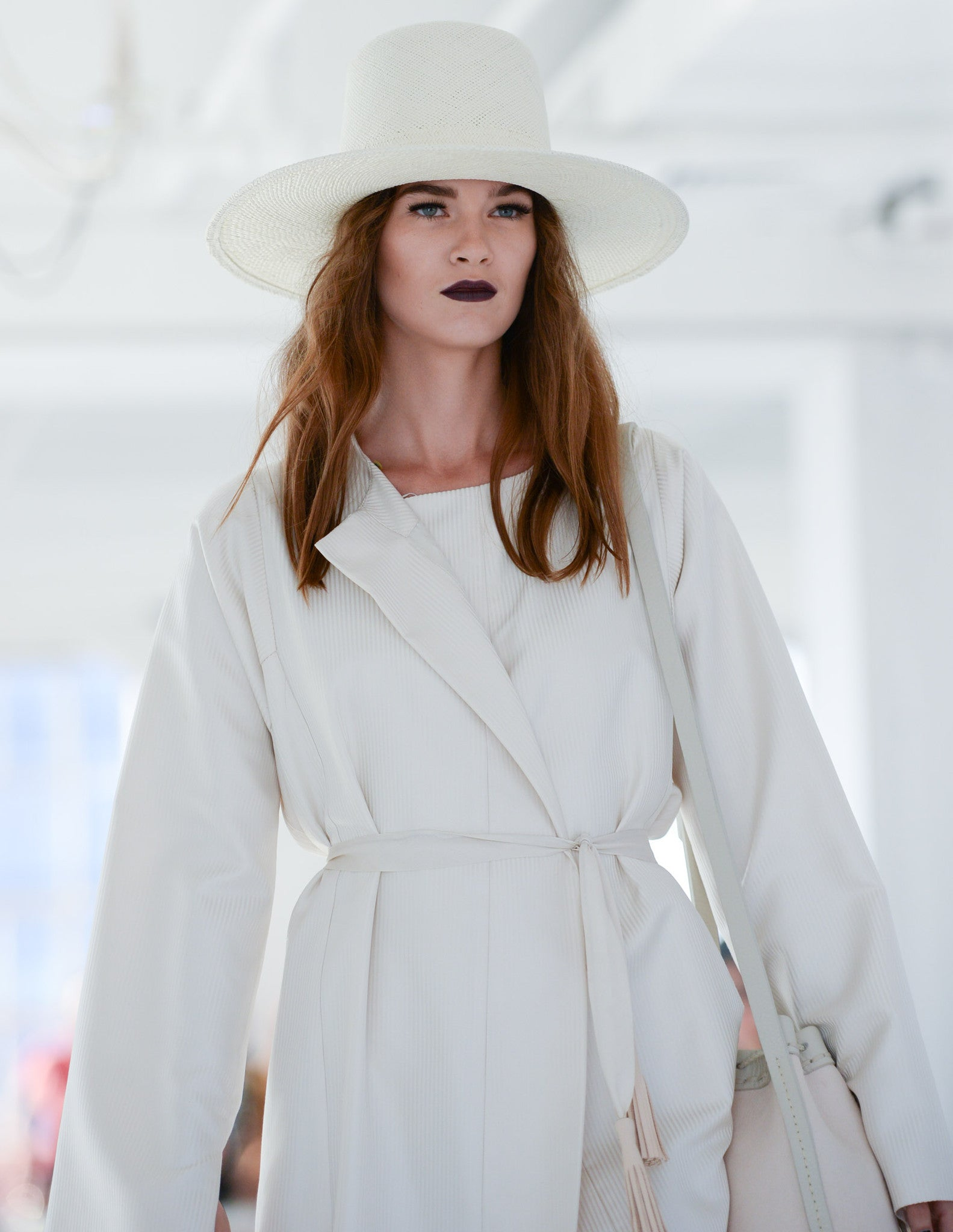 Rudi IMG Model Wendy Nichol Clothing Designer Ready to wear Fashion Runway Show SS16 Guardians of Light Sunrise Silk Cream light pink Sunrise Opera Coat white cream Straw Wide Brim Hat  Handmade in NYC