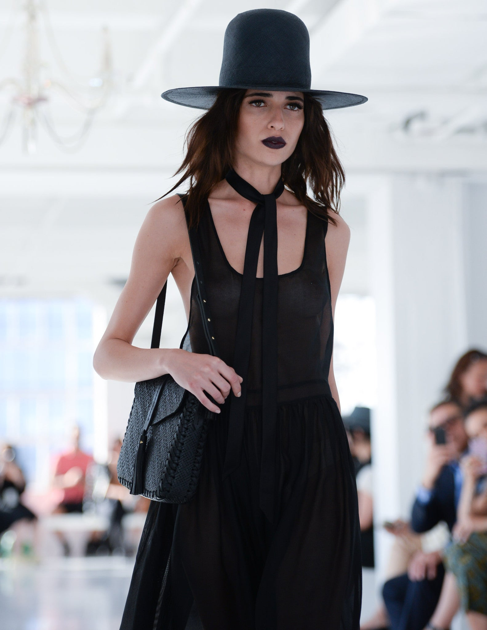 Vanessa M.  IMG Model Wendy Nichol Clothing Designer Ready to Wear Fashion Runway Show SS16 Guardians of Light Magic Hour Cross Back apron Dress Sheer Sleeveless Silk Black Dark Navy Custom Tailored Made to Measure Order Handmade in NYC  Straw Wide Brim Hat Silk Tie Choker Necklace