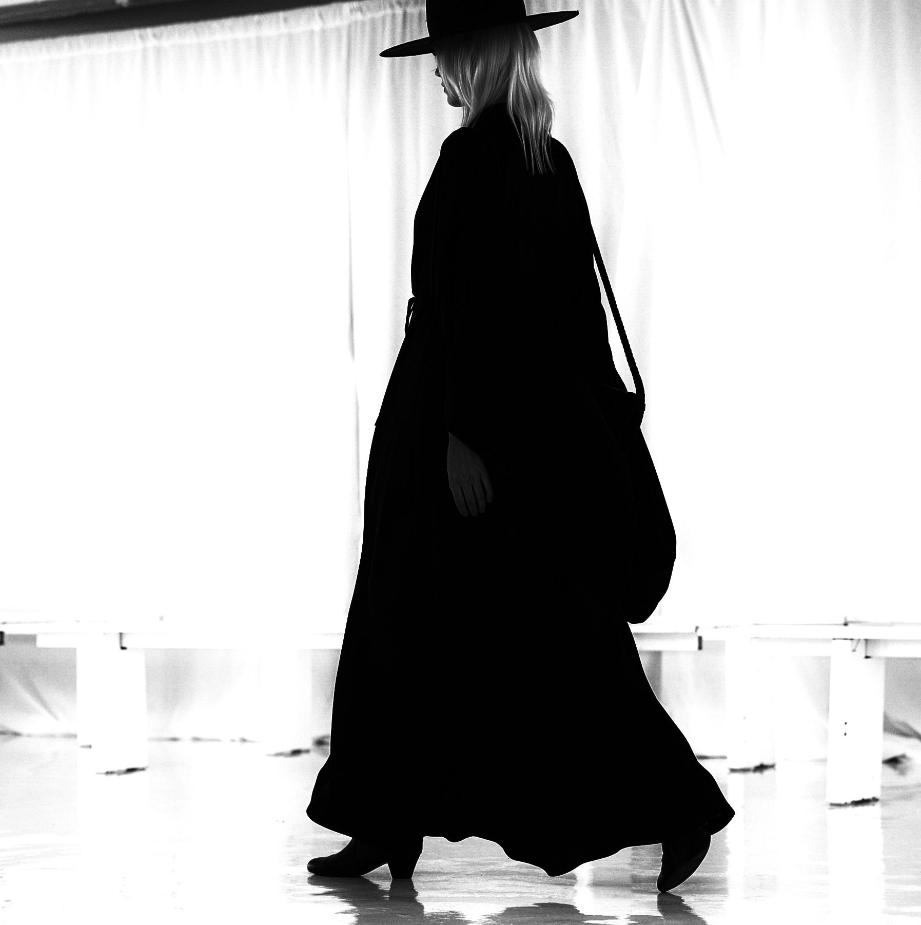 Ragnhild IMG Model Wendy Nichol Clothing Designer Fashion Runway Show SS16 Guardians of Light Handmade in NYC Silk Satin Kimono Large Sleeve Witching Hour Sorceress Dress Black Straw Wide Brim Hat Basket Whip Leather Handbag Horse Hair Tassel
