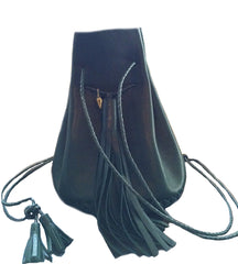 Eco Vegetable Tanned Dark Green Leather Signature Classic Bullet Bag Wendy Nichol Handmade in NYC New York City Leather Drawstring Bucket Pouch Purse Handbag Large Fringe Tassel Custom Made to Order