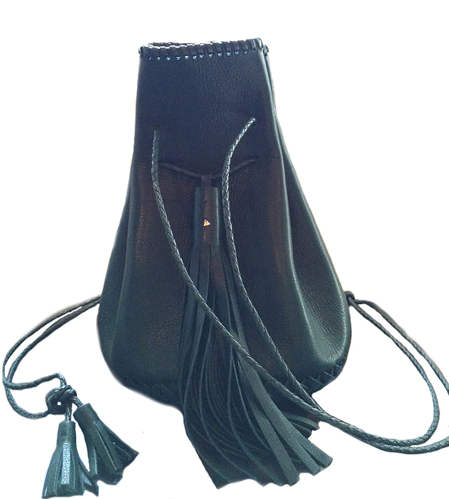 Eco Vegetable Tanned Dark Green Forest Leather Whipstitch Bullet Bag Wendy Nichol Designer Purse Handbag Handmade in NYC New York City Leather Fringe Tassel Drawstring Bucket Pouch Boho Handbag