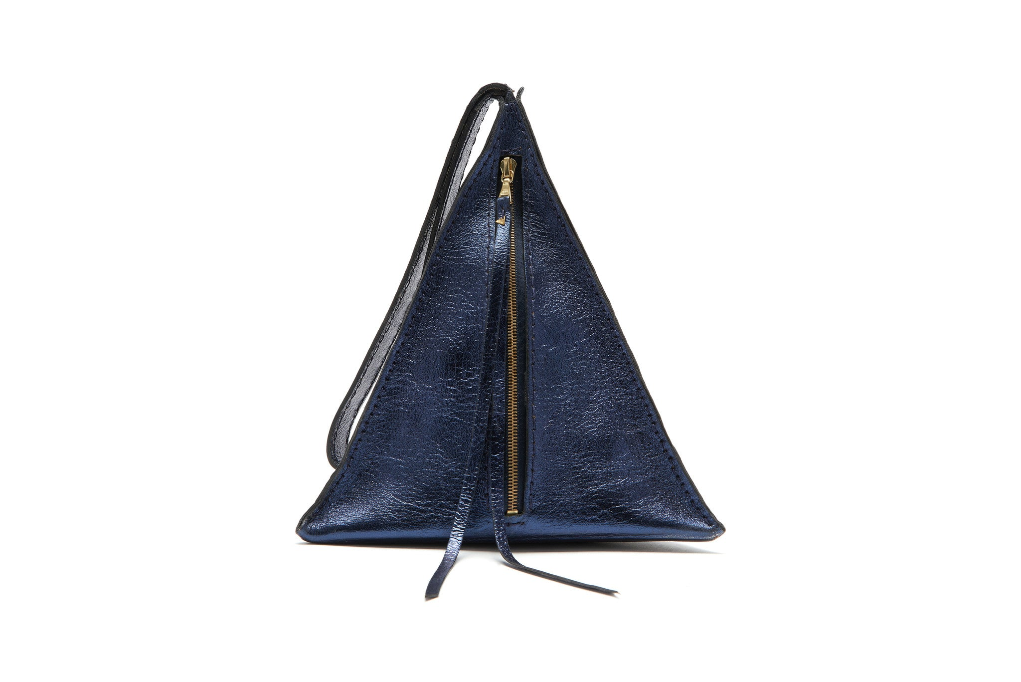 Wendy Nichol SS17 Fashion Show Death Valley Triangle shape leather bag UFO choker Devil Star Pyramid Triangle Bag handbag purse wristlet Sparkle Midnight Navy Blue Metallic Patent Leather