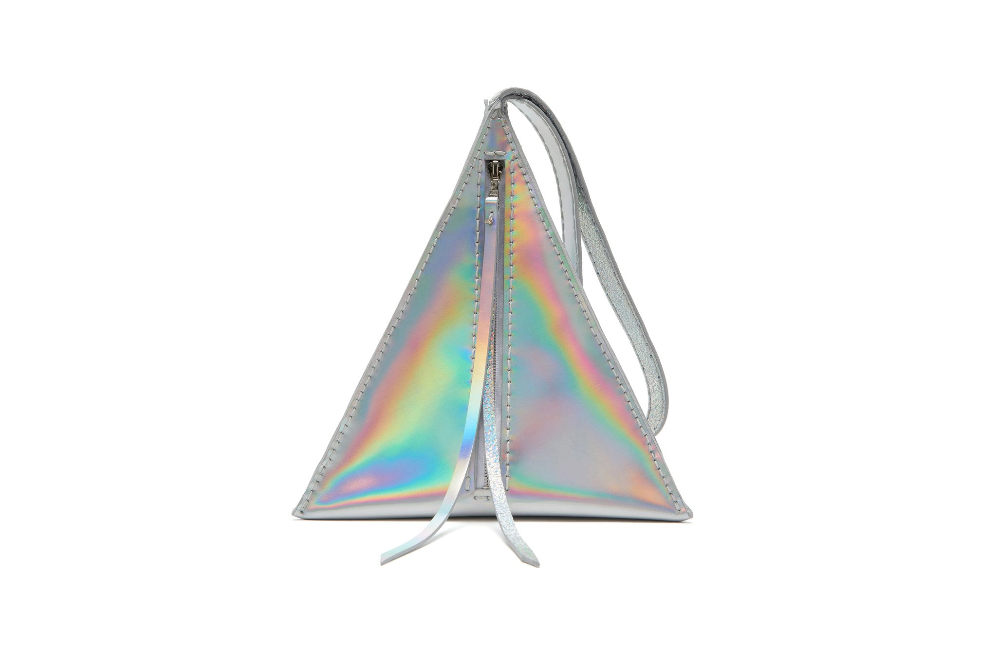 Wendy Nichol SS17 Fashion Show Death Valley Triangle shape high quality leather bag Handmade in NYC New York City Devil Star Pyramid Egyptian Triangle Bag handbag purse wristlet Silver Rainbow Metallic Shiny Patent Leather