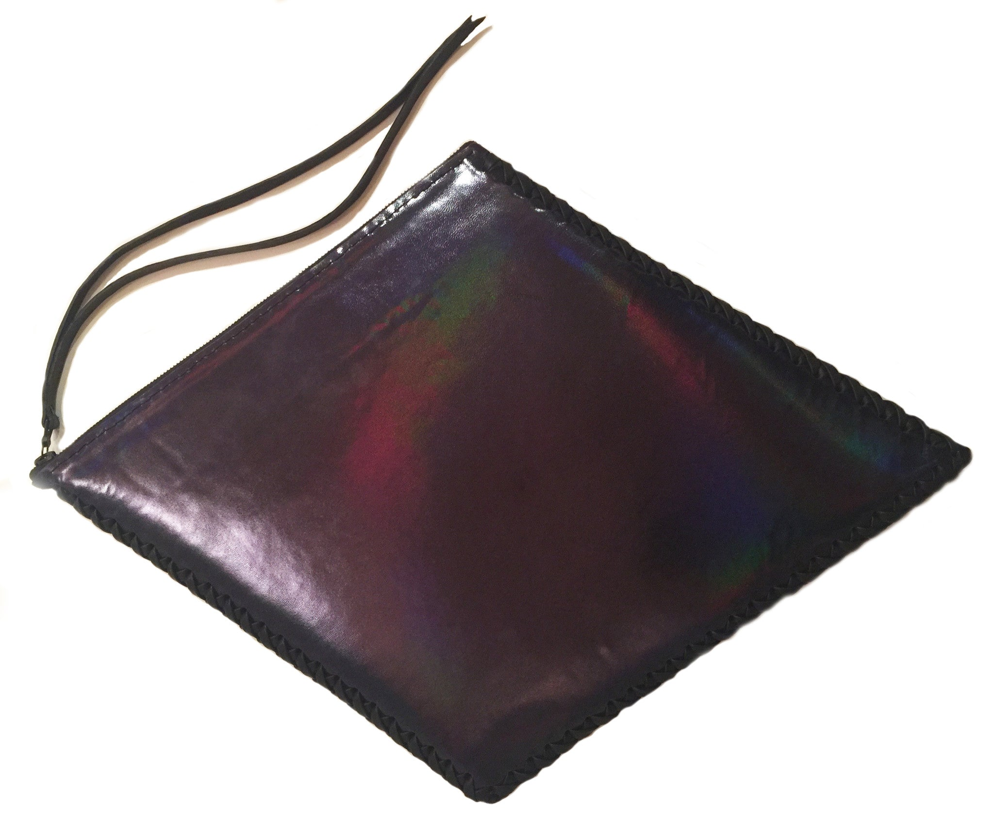 Shiny Reflective Black Rainbow Patent Leather Diamond Kite Shape Clutch Wendy Nichol Luxury Handbag Purse Designer Handmade in NYC New York City Large Thin Structured Clutch Evening Red Carpet High Quality Leather