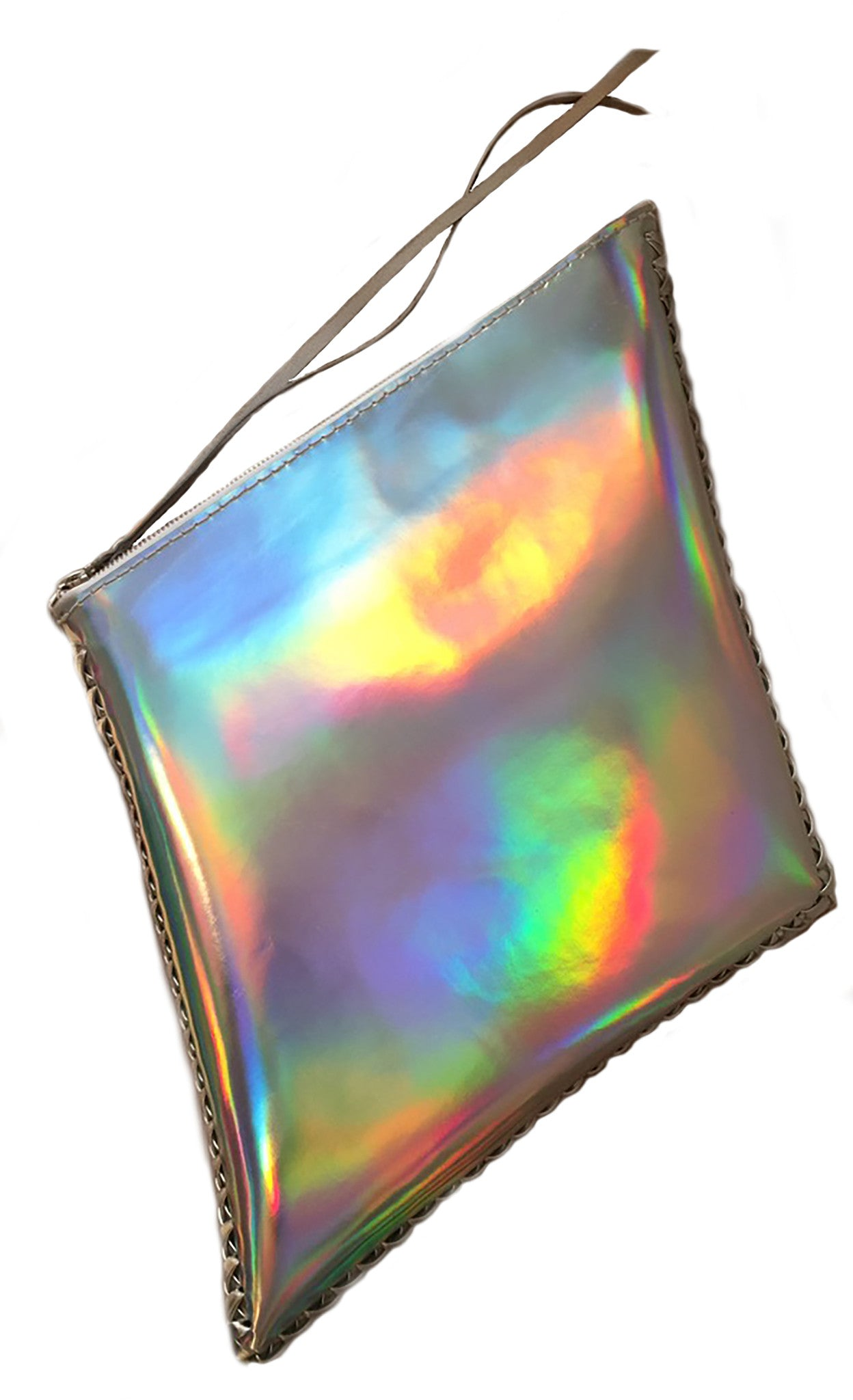 Shiny Reflective Silver Rainbow Patent Leather Diamond Kite Shape Clutch Wendy Nichol Luxury Handbag Purse Designer Handmade in NYC New York City Large Thin Structured Clutch Evening Red Carpet High Quality Leather Maggie Laine IMG Model