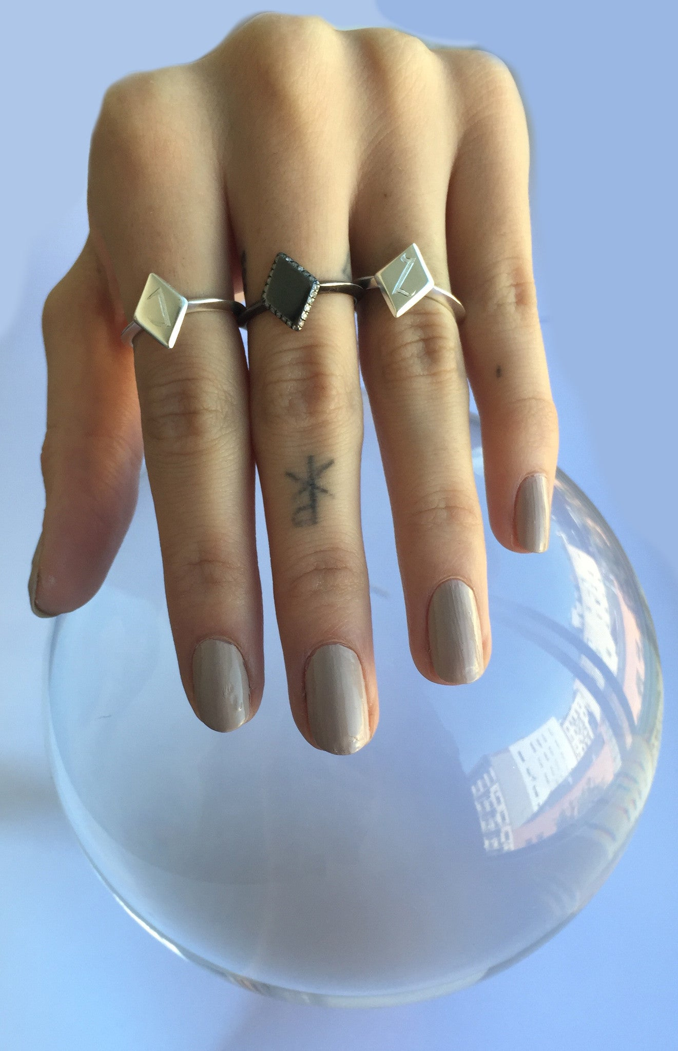 Engraved Initial Letter Monogram Diamond Kite Shape Ring Wendy Nichol Fine Jewelry Designer Handmade in NYC New York City solid 14k Gold Yellow Rose White Sterling Silver Diamond Signet Dracula Vampire Ring Custom Engraving Knife Edge Band