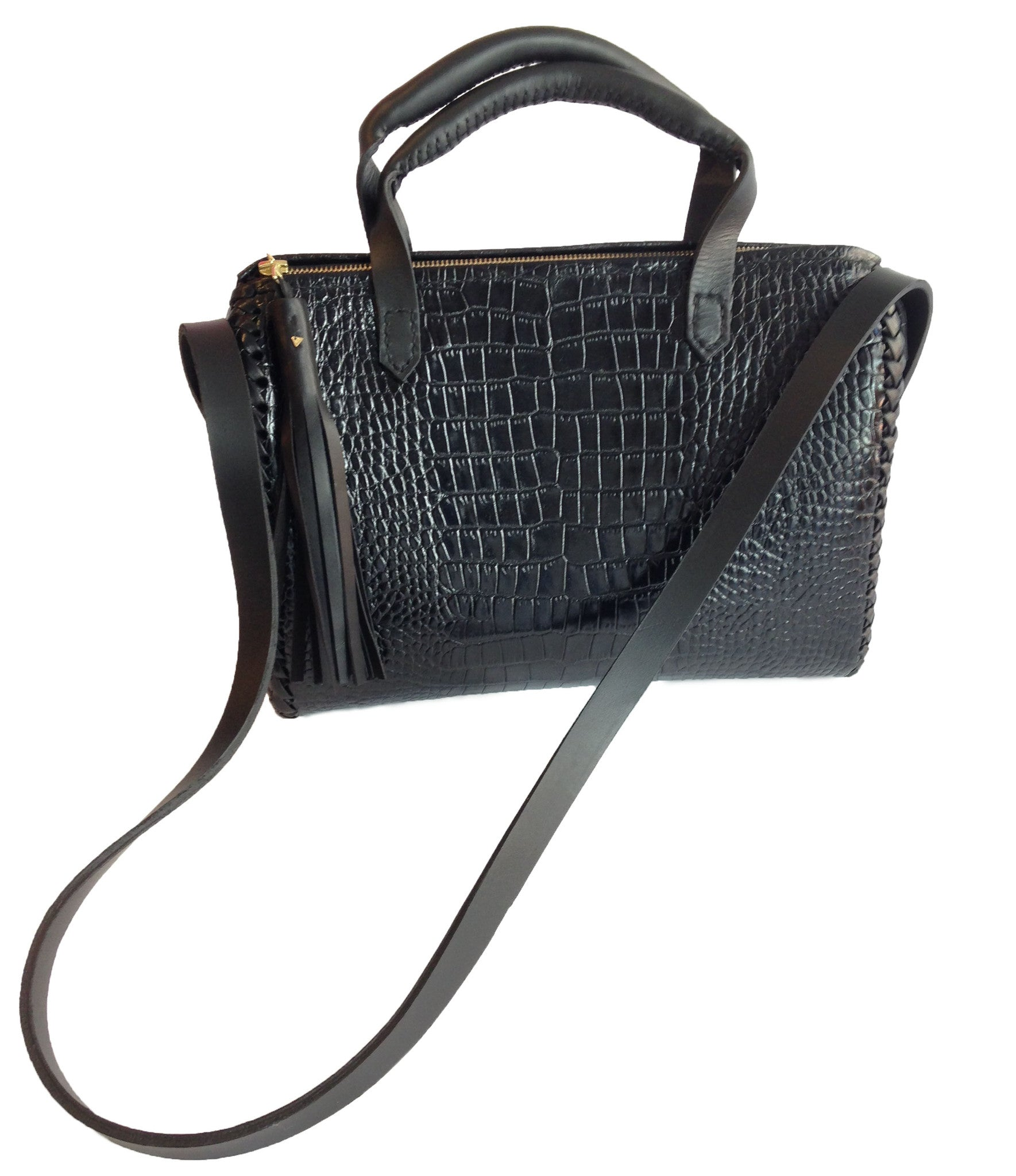 Leather Doctor Bag Wendy Nichol Handbags Handmade in NYC Cross body everyday bag Black Embossed  Croc Crocodile Alligator Cowhide Leather