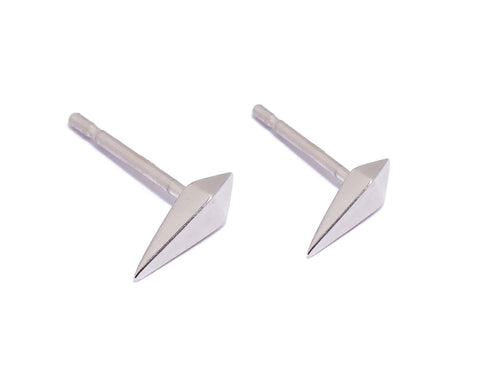 Double Pyramid Spike Stud Earrings Wendy Nichol Fine Jewelry Designer solid 14k Gold Sterling Silver delicate simple studs handmade in NYC New York City daggers swords spikes First Second Piercing Lower Lobe Upper Lobe Helix Snug Cartilage