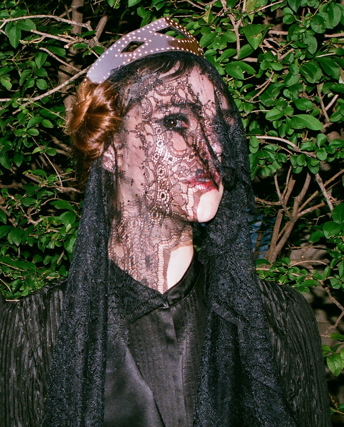 Aliana Ali Lohan Model Lindsay Lohan Sister Wendy Nichol First Fashion Show Saints of the Zodiac Astrology Sign Taurus Bullfighter Matador outfit Torero Metallic Copper Crown Gothic Victorian Edwardian Cropped Jacket Bolero High Waist Waisted Silk Skirt Long Train Handmade in NYC New York City Bespoke Made to Measure Custom Tailoring Lace black Veil