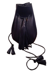 Eco Navy Leather Signature Classic Bullet Bag Wendy Nichol Handmade in NYC New York City Leather Drawstring Bucket Pouch Purse Handbag Large Fringe Tassel Custom Made to Order