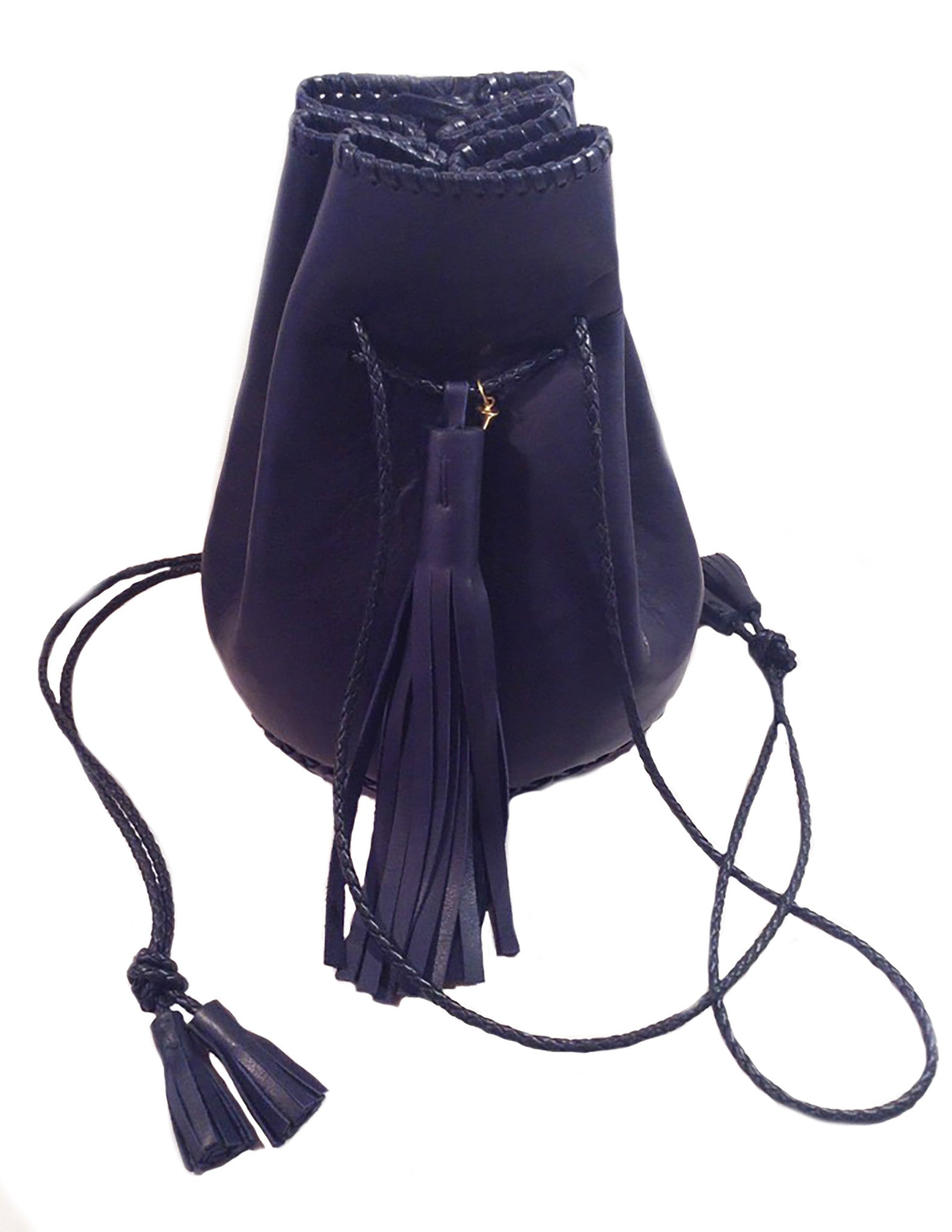Eco Navy Dark Blue Whipstitch Bullet Bag Wendy Nichol Leather Handbag Designer Bucket Bag