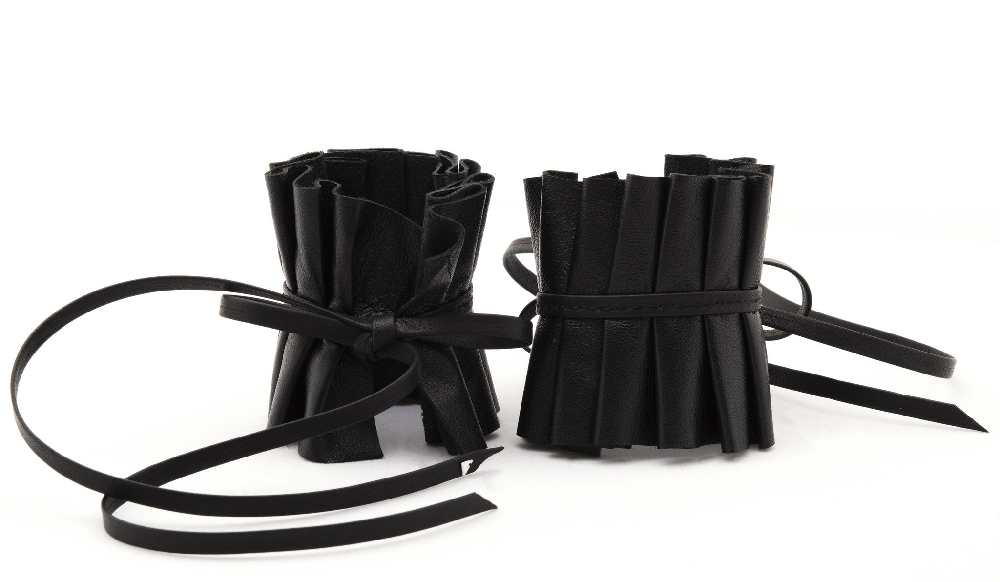 Edwardian Pleated Black Leather Wrist Cuffs Wendy Nichol Designer Handmade in NYC Victorian Gothic Leather Suede Bow Pleated Cuffs