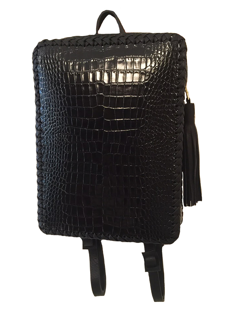 Black Shiny Embossed Croc Crocodile Alligator Cowhide Leather Folio Backpack Wendy Nichol Handbag Purse Designer Handmade in NYC New York City Rectangle Square Braided Structured Structural French Work School Backpack Fringe Tassel Adjustable Straps Zip Zipper High Quality Leather