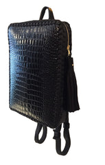 Shiny Reflective Black Embossed Croc Crocodile Alligator Cowhide Leather Folio Backpack Wendy Nichol Handbag Purse Designer Handmade in NYC New York City Rectangle Square Braided Structured Structural French Work School Backpack Fringe Tassel Adjustable Straps Zip Zipper High Quality Leather