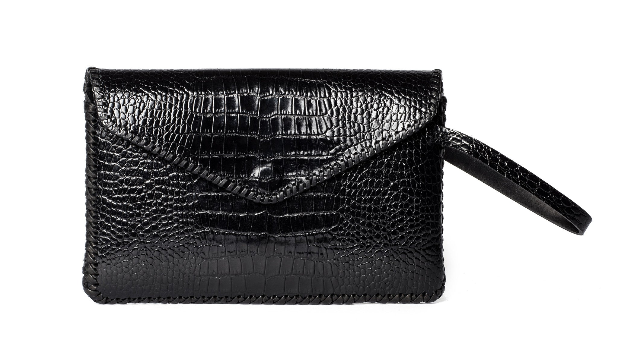 Whipstitch Midnight Rider Clutch Embossed croc Cowhide Leather Wendy Nichol Handbag Purse Designer Handmade in NYC Evening Bag Red Carpet Custom