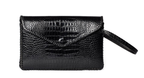 Black Shiny Reflective Embossed Croc Crocodile Alligator Cowhide Leather Whipstitch Edge Midnight Rider Clutch Wendy Nichol Luxury Handbag Purse Designer Handmade in NYC New York City Envelope Flap Closure Magnet Magnetic Wrist Wristlet Clutch Pouch Evening Bag Red Carpet High Quality Leather