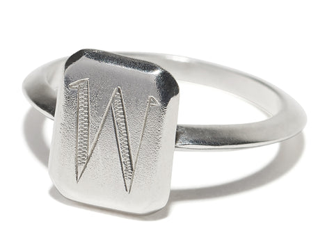 Engraved Initial Monogram Emerald Rectangle Square Shape Ring Wendy Nichol Fine Jewelry Designer solid Sterling Silver 14k Gold Yellow Rose White Knife Edge Band custom Engraved Monogram Nameplate Signet