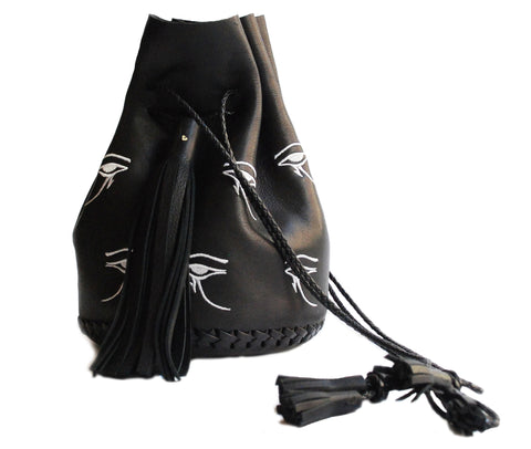 Black White Embroidered Egyptian Eye of Horus Leather Bullet Bag Wendy Nichol Handbag Purse Designer Handmade in NYC Bucket Bag