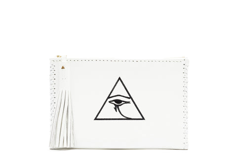 Embroidered Egyptian Eye of Horus Illuminate Braided Pouch Triangle Wendy Nichol Leather Handbag Purse Designer handmade in NYC white black