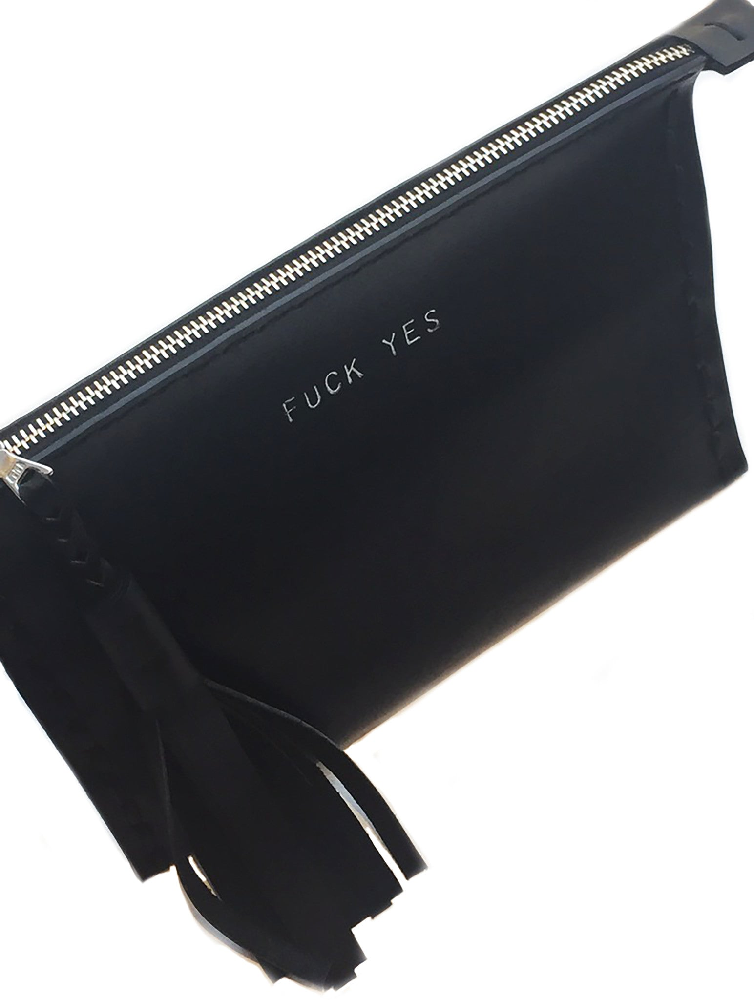 Embossed FUCK YES Laced Leather Clutch Pouch Wendy Nichol Luxury Handbags Bag Purse Designer Handmade in NYC New York City Zip Zipper Pouch Wallet Fringe Tassel Embossed Gold Silver Foil Fuck No Fuck Off Fuck You Small Medium Large Size Smooth High Quality Black Leather