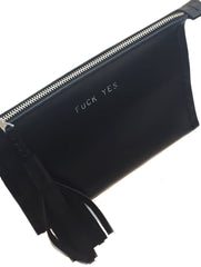 FUCKYES Leather Medium Laced Clutch Pouch Custom Embossed Initial Letter Monogram Card Phone Wallet Clutch Wendy Nichol Designer Purse handbags Handmade in NYC New York City Zip Zipper Pouch Smooth Black High Quality Leather Fringe Tassel Gold Silver Foil FUCK YOU FUCK OFF