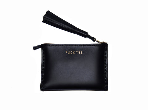 Leather Small Laced Clutch Pouch Custom Embossed Monogram wallet Wendy Nichol handbags Handmade in NYC