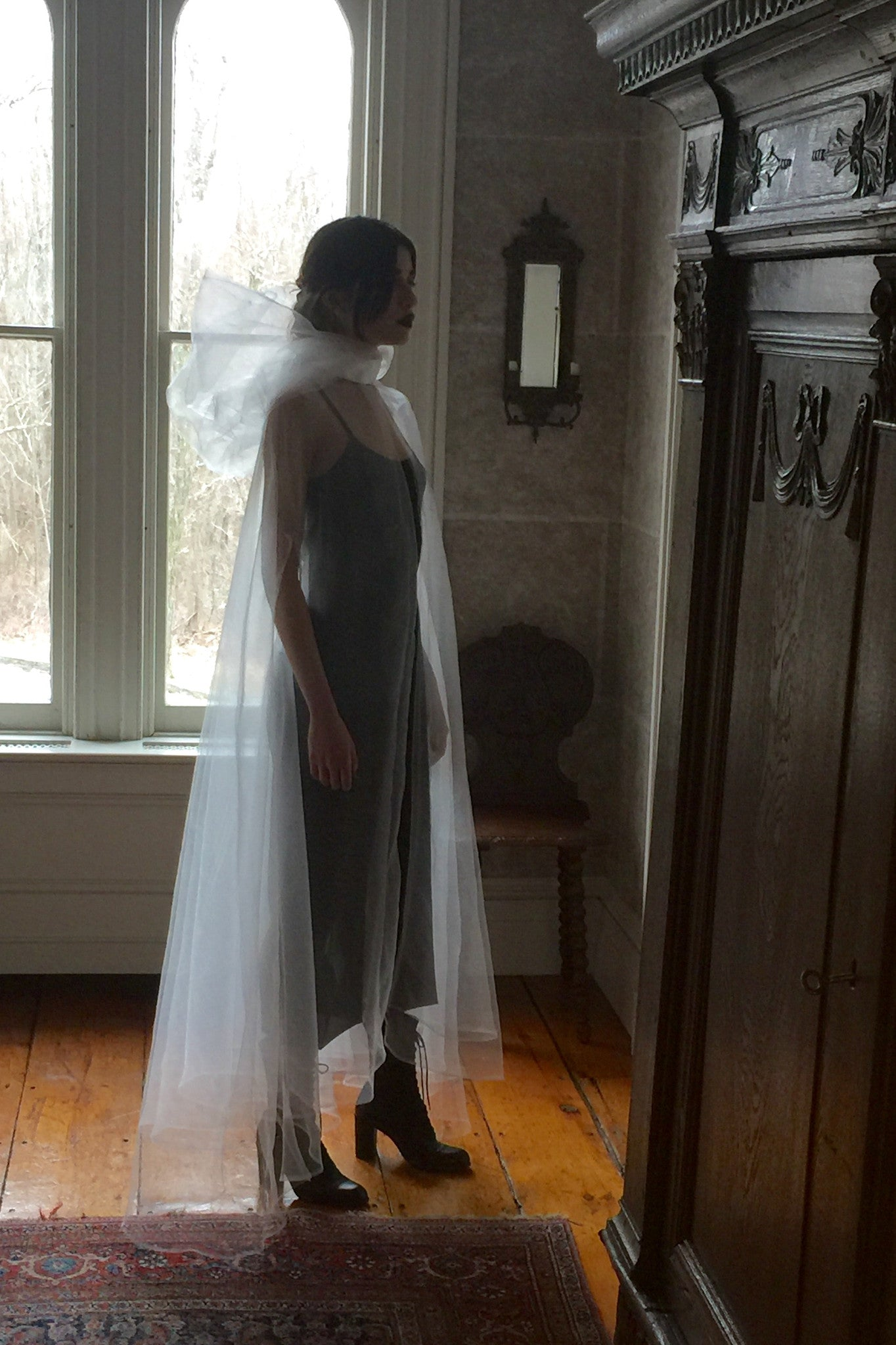 Vanessa M. IMG Model Wendy Nichol Clothing Designer Made to Order Custom Tailoring Made to Measure Handmade in NYC New York City Fashion Runway Show AW16 13 Incarnations White Ghost Edwardian Sheer Organza Hooded Hood Cape Cloak Satin Bow Bride Wedding Veil cover Victorian Edwardian Gothic sheer chiffon Ruche Ankle Jumper Jumpsuit Summer