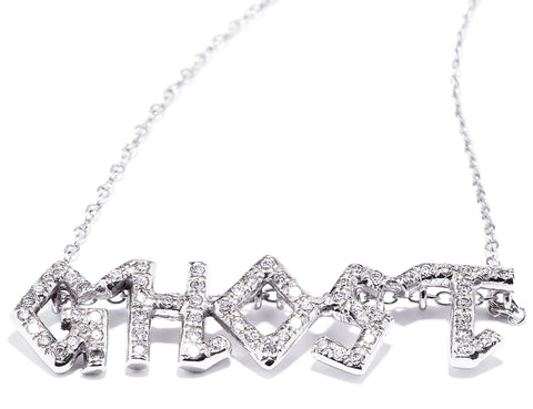 GHOST Monogram Letter Nameplate Charm Necklace Wendy Nichol Micro Pave Diamonds 14k Gold Handmade in NYC