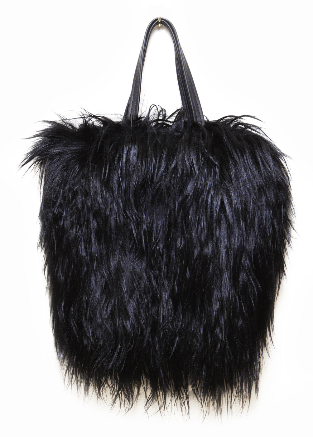 Goat Hair Fur Tote Wendy Nichol Handbag Purse Designer Handmade in NYC New York City interior pocket Huge Large Furry Black Tote High Quality Leather