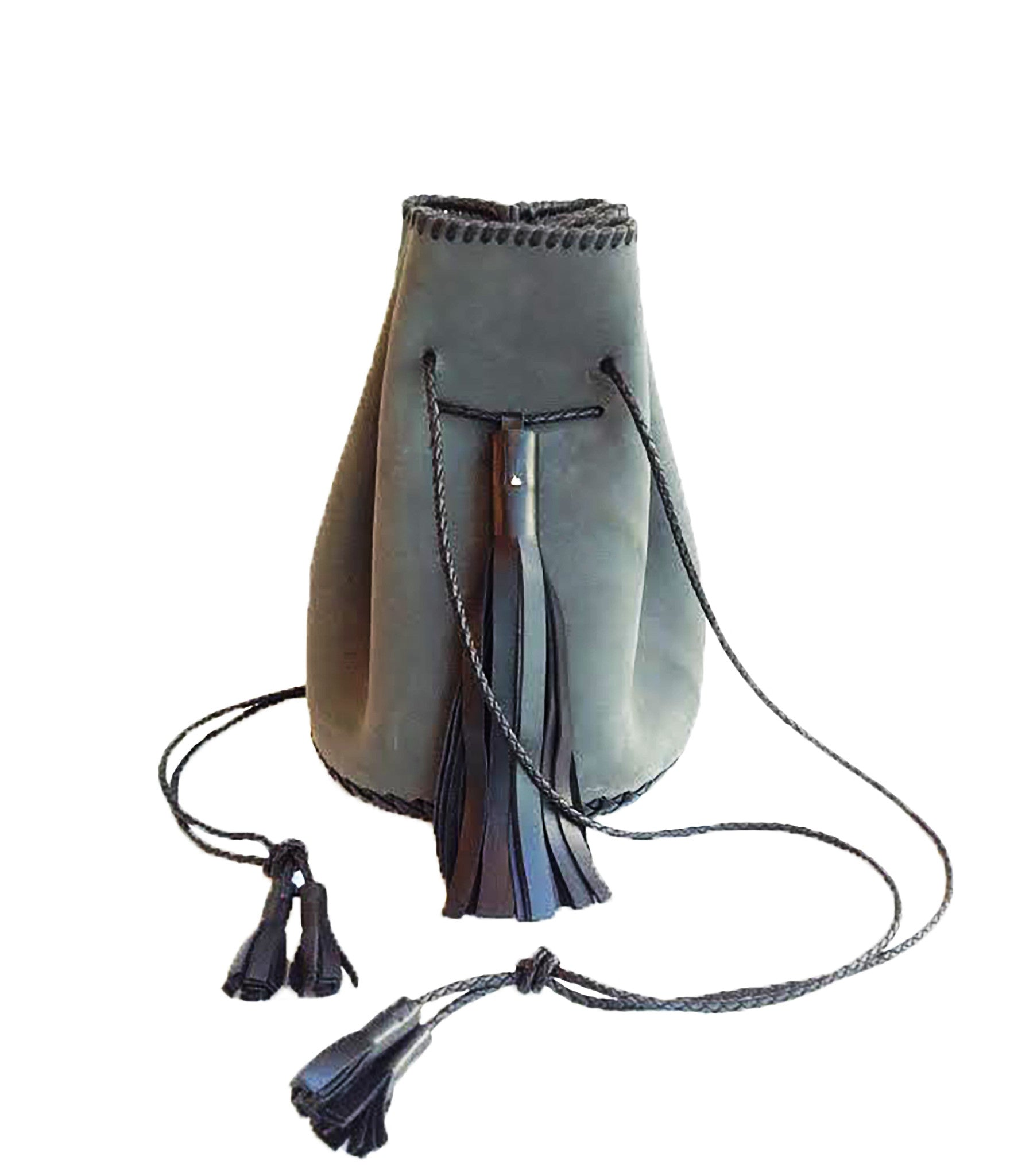 Gray Grey Whipstitch Ear Friendly Vegetable Tanned Eco Leather Bullet Bag Wendy Nichol Leather Handbag Purse Designer Handmade in NYC New York City Bucket Bag Drawstring Pouch Large Fringe Tassel