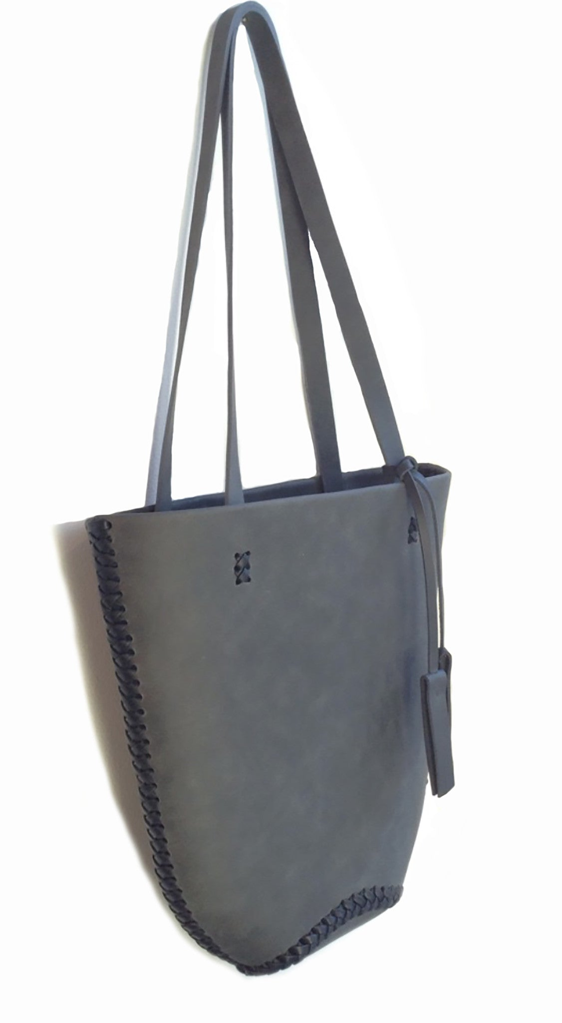 Gray Grey Horse Vegetable Tanned Leather Mini Tote Wendy Nichol Handbag bag Purse Designer Handmade in NYC New York City  braided Basket Everyday Simple Durable Light Medium Tote Eco Leather High Quality Leather