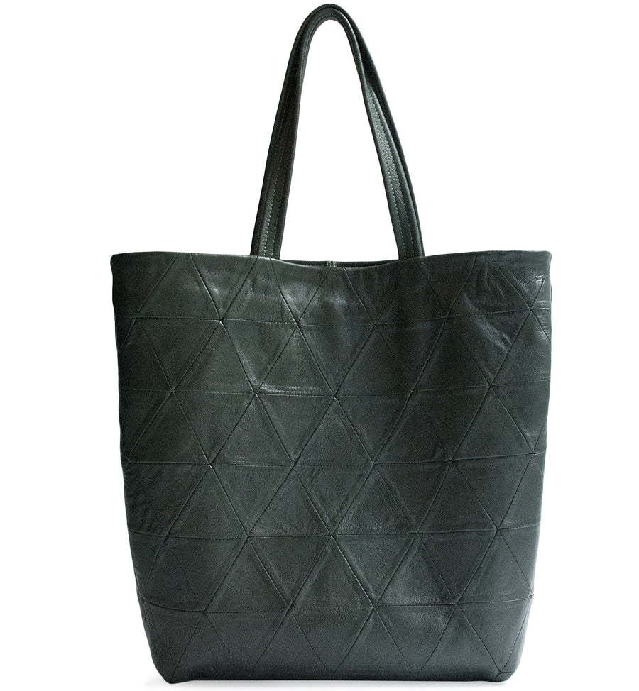 Dark Green Leather Triangle Patchwork Tote Wendy Nichol Designer Handbag Purse Tote Handmade in NYC New York City Strong durable Handle interior pocket Triangles High Quality Leather