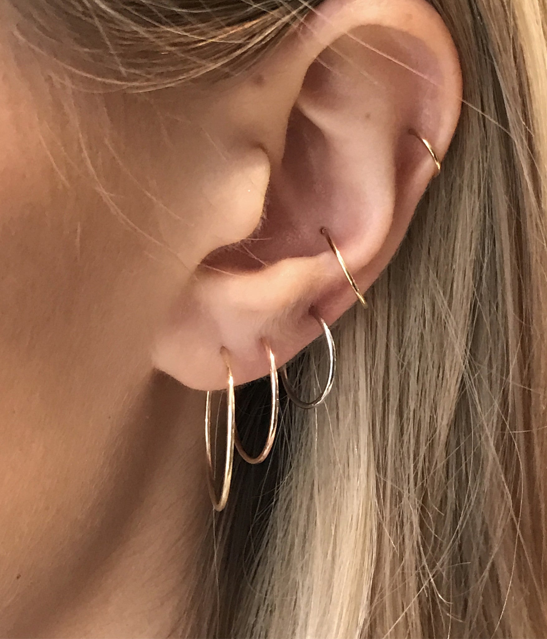 Hard Wire Hoop Single Earrings Wendy Nichol Fine Jewelry Designer Thin simple hoop Handmade in NYC solid 14k Gold Yellow Rose White First Second Ear Hole Piercing Lower Lobe Upper Lobe